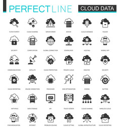 Black classic data cloud technology web icons set vector