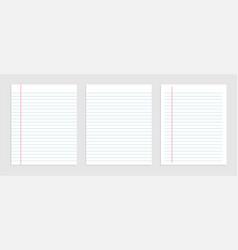 Blank sheet lined notebook paper set vector