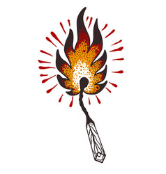 burning match in the style of a traditional tattoo vector image