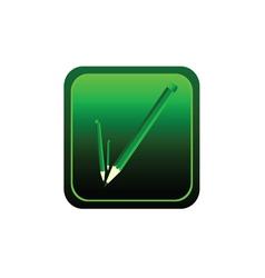 button pencil green vector image