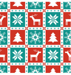 christmas knitted elements seamless pattern vector image