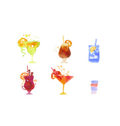 cocktails collection alcoholic drinks watercolor vector image