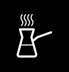 coffee turk icon isolated on black vector image