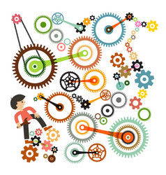 cogs - gears and man repair or maintenance symbol vector image