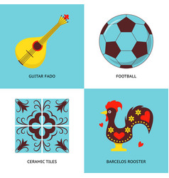 collection portugal icons in flat style vector image