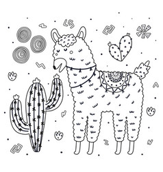 Coloring page with cute llama eating a cactus vector