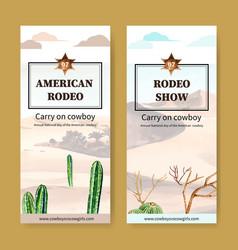 Cowboy flyer design with desert plants watercolor vector