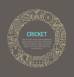 Cricket banner with line icons ball bat field vector