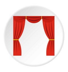 Curtain on stage icon circle vector