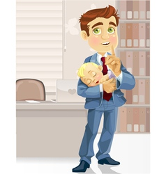 Cute business dad in the office with the sleeping vector image