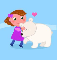 Cute girl with polar bear vector