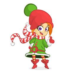 Cute santa helper girl vector
