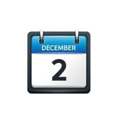 December 2 Calendar icon flat vector