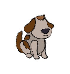 Dog cartoon drawing sitting faceless vector
