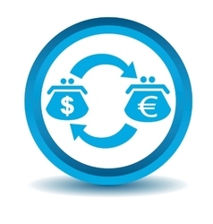 Dollar-euro trade icon blue 3D vector image