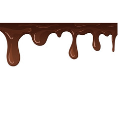 Dripping chocolate drips chocolate isolated vector