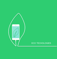 Eco phone charge wire isolated on green backgroun vector