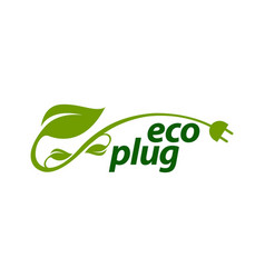 eco plug stem leaves with electric plug icon logo vector image