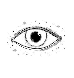 Evil seeing eye symbol occult mystic emblem vector