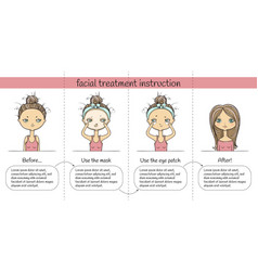 Facial treatment four steps instruction girl vector