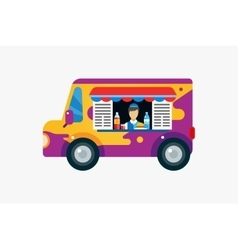 Fast food objects set car outdoor water vector