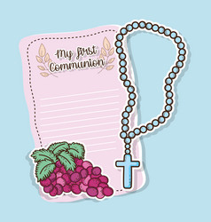 First communion card with grapes and rosary vector