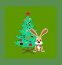 Flat shading style icon christmas tree rabbit vector