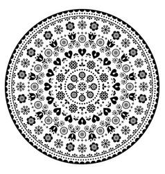 floral scandinavian mandala design folk art vector image