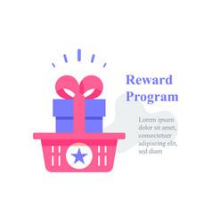 Gift box in basket reward program loyalty present vector