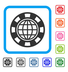 Global casino chip framed icon vector
