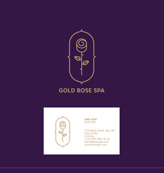 Gold rose logo spa cosmetic emblem vector