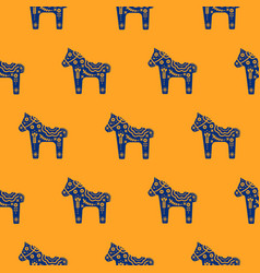 Horse silhouette seamless pattern with floral vector