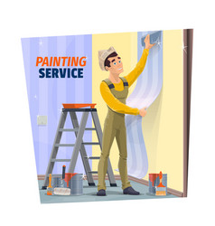 house renovation and repair service worker vector image