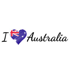 i love country australia text heart doodle vector image