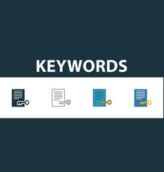 Keywords icon set four elements in diferent vector