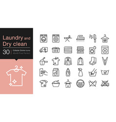 Laundry and dry clean icons modern line design vector
