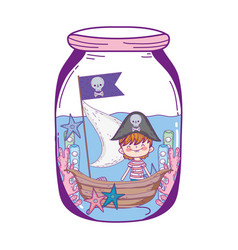 Little pirate with boat in mason jar vector
