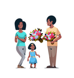 Man giving bouquet flowers to wife and daughter vector