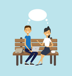 man woman using laptop sitting wooden bench couple vector image
