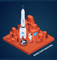 Mars exploration isometric composition vector