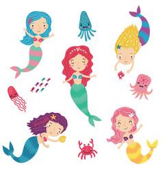 mermaids and sea set characters vector image