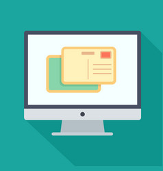 monitor flat icon with postcard vector image