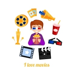 Moviegoer boy cinema icons set vector image