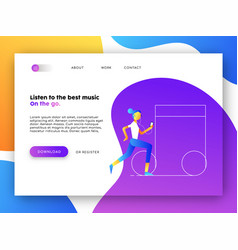 Music app web landing page for business marketing vector