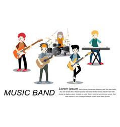 Musicians rock group play guitarsinger vector