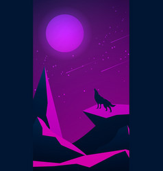 Night landscape with mountains and a wolf vector