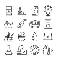 Oil industry sign black thin line icon set vector