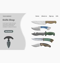 Online knife shop landing page concept flat vector