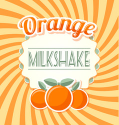 Orange milkshake label vector