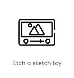 Outline etch a sketch toy icon isolated black vector